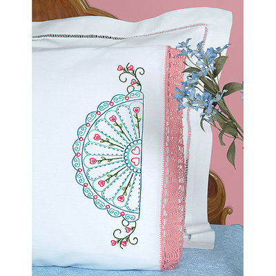 Jack Dempsey Stamped Pillowcases With Hemstitched Edge 2/Pkg-Fan