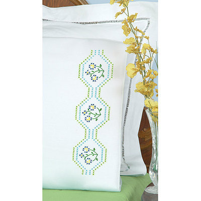 Jack Dempsey Stamped Pillowcases With White Perle Edge 2/Pkg-Flowers