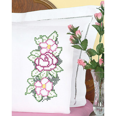 Jack Dempsey Three XX Flowers Stamped Pillowcases With White Perle Edge