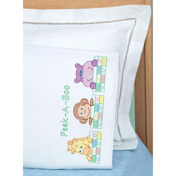Jack Dempsey Children's Stamped Pillowcase With White Perle Edge 1/Pkg-Peek A Boo