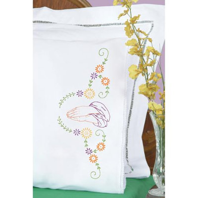 Jack Dempsey Stamped Pillowcases With White Lace Edge 2/Pkg-Hands