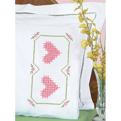 Jack Dempsey NOTM359374 - Stamped Pillowcases With White Lace Edge