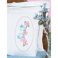 Jack Dempsey Stamped Pillowcases With White Lace Edge, 2pk