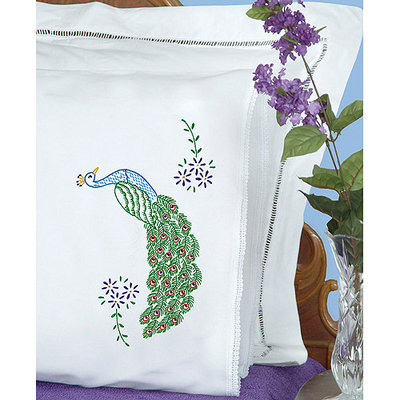 Jack Dempsey NOTM359376 - Stamped Pillowcases With White Lace Edge 2/Pkg