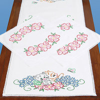 Jack Dempsey Stamped Dresser Scarf & Doilies Lace Edge-Kittens In Flowers