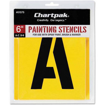 Chartpak CHA01575 Painting Stencil Numbers-Letters- 6in- Yellow