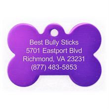 Best Bully Sticks Dog ID Tag - Bone - Large/Purple