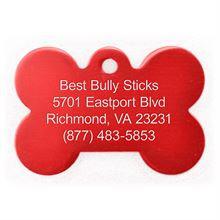 Best Bully Sticks Dog ID Tag - Bone - Large/Red