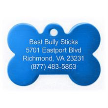 Best Bully Sticks Dog ID Tag - Bone - Small / Blue Bone