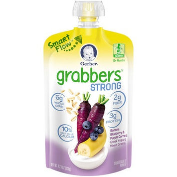 Gerber® Grabbers® Strong Squeezable Puree | Banana Blueberry & Purple Carrot, Greek Yogurt, Mixed Grains
