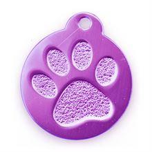 Best Bully Sticks Dog ID Tag - Circle with Paw Print - Purple