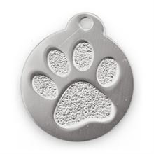 Best Bully Sticks Dog ID Tag - Circle with Paw Print - Silver