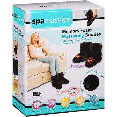 Spa Massage Memory Foam Massaging Booties, Black Large, 1 pr