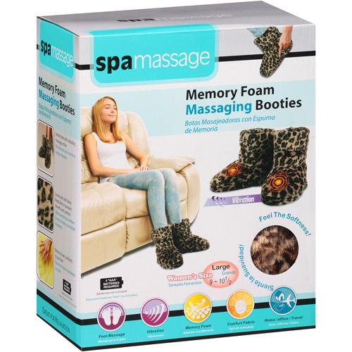 Spa Massage Memory Foam Massaging Booties, Leopard Large, 1 pr