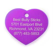Best Bully Sticks Dog ID Tag - Heart - Large / Purple Heart