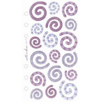 Stickopotamus Vellum Hearts, Swirls, and Flowers swirls purple/blue