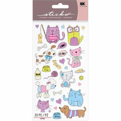 Eksuccess Brands Sticko Classic Stickers-Cats and Dogs