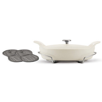 Tramontina Gourmet Tramontina Limited Editions Series 1200 Enameled Cast Iron 3.5 Qt Covered Oval Braiser with Stainless Steel Trivet Eggshell