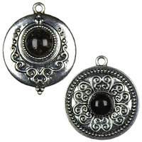 Cousin 479880 Jewelry Basics Metal Accents 2-Pkg-Silver-Black Round Cab