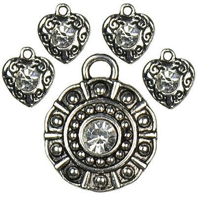 Cousin 150095 Jewelry Basics Metal Accents 5-Pkg-Silver Rhinestones