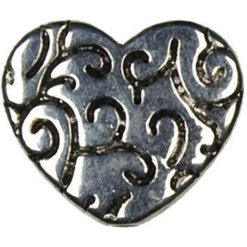 Cousin 150270 Jewelry Basics Metal Beads 5-Pkg-Silver Deco Heart