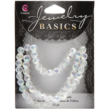 Cousin 150190 Jewelry Basics Glass Beads 6mm 52-Pkg-Light Blue Faceted