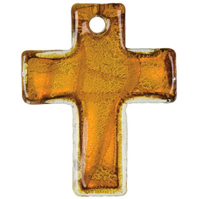Cousin 150121 Jewelry Basics Glass Accents 2-Pkg-Amber Silver Cross