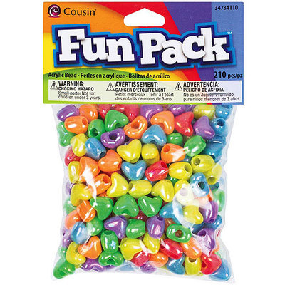 Cousin 34734110 Fun Pack Heart Pony Beads 210-Pkg-Assorted Colors
