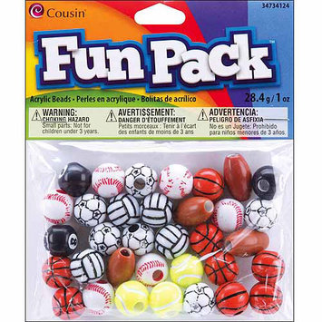 Cousin 34734124 Fun Pack Sports Bead Mix 10 Ounces-Pkg-Assorted Sports