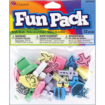 Cousin 34734134 Fun Pack Multi Shaped Beads 32-Pkg-Christian