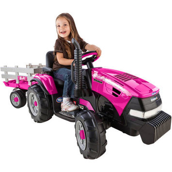 Peg-perego Magnum Tractor With Stake Side Trailer Pink 12 Volt Vehicle