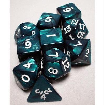 Koplow RPG Dice Sets: Emerald/White Pearlized Polyhedral 10-Die Set KPL10074 KOPLOW GAMES