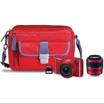Nikon 1 Series 13282 S1 10.1 Megapixels Mirrorless Digital Camera Bundle with 11-27.5mm, 30-110mm Lenses - 10x Optical Zoom - 3.0-inch LCD Display - Red