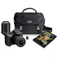 Nikon D5300 24.2MP HD-SLR 2-Lens Bundle, with 18-55mm Lens, 55-200mm Lens, Carrying Case and 32GB SD Card