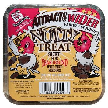 C & s Products 12 Piece Display Nutty Treat Suet For Year Round Wild Bird Feeding - Pack of 12