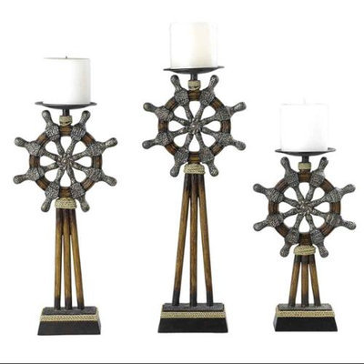 Cal Lighting 3 Pc El Captain Candle Holders in Bistre Finish