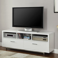 Low TV Console w/ Metal Base in White Finish by Coaster Furniture