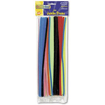 Chenille Kraft Jumbo Stems, 12 x 6mm, Metal Wire, Polyester, Assorted, 100/Pack