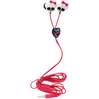Sakar Monster High Skull In-ear Design Earbuds - 11348 - Stereo - Pink, White - Wired - Earbud - Binaural - Open