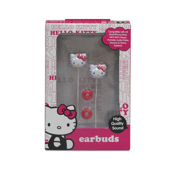 Sakar International Hello Kitty Earbuds - Pink and White