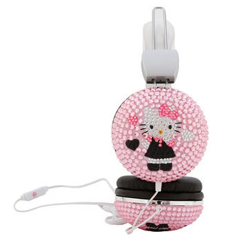 Hello Kitty Bejeweled Headphones with Mic - white, one size