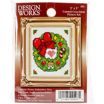 Tobin Wreath Ornament Counted Cross Stitch Kit-2X3