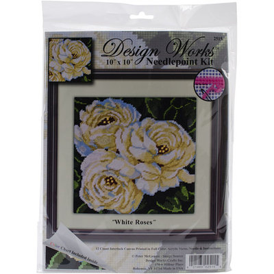 Tobin White Roses Needlepoint Kit-10inX10in