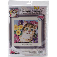 Tobin Cat In Flowers Needlepoint Kit-10inX10in