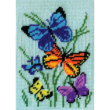 Tobin Butterflies Galore Needlepoint Kit5inX7in Stitched In Yarn
