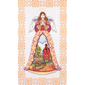 Tobin Autumn Angel-Jim Shore Counted Cross Stitch Kit-9inX15in 14 Count