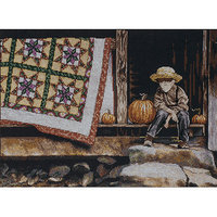Tobin Pumpkin Porch Counted Cross Stitch Kit-12inX16in 14 Count