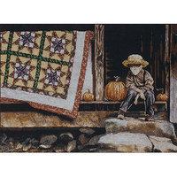 Tobin Pumpkin Porch Counted Cross Stitch Kit-12inX16in 14 Count