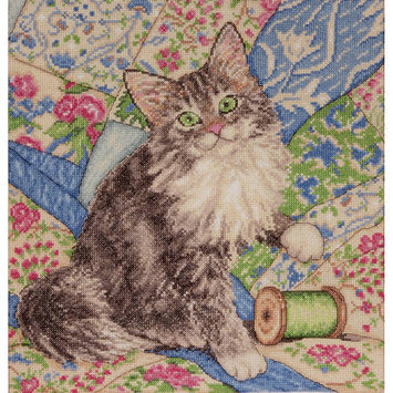 Tobin Cat On Quilt Counted Cross Stitch Kit12inX12in 14 Count