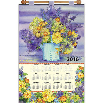 Tobin Yellow Floral 2016 Calendar Felt Applique Kit16inX24in